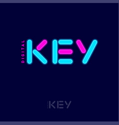 digital key logo pink blue neon elements network vector image
