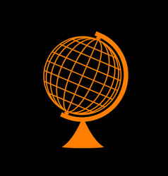 earth globe sign orange icon on black background vector image