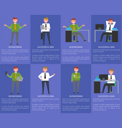 eight icons of businessman vector image