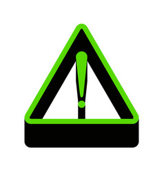 exclamation danger sign flat style green vector image