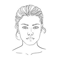 face chart makeup artist blank template vector image