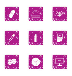 Fancy icons set grunge style vector