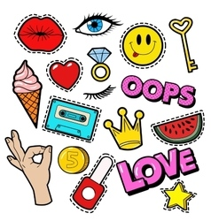 Fashion Badges Patches Stickers Lips Heart vector image