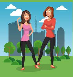 fashion womens at park vector image