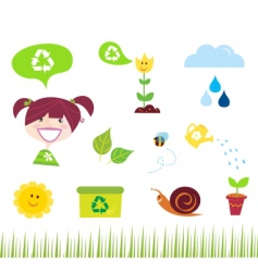 garden icons vector image