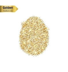 Gold glitter icon of egg isolated on vector