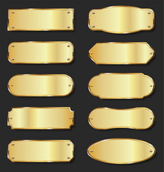 golden metal plates collection on black background vector image