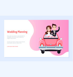 groom embracing bride in car invitation vector image