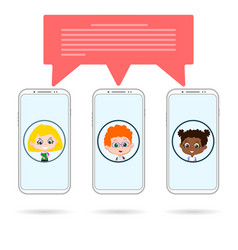 Group phones chating vector