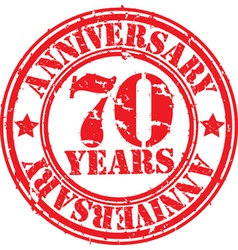 Grunge 70 years anniversary rubber stamp vector