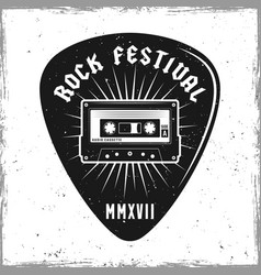 guitar pick with audiotape and text rock festival vector image