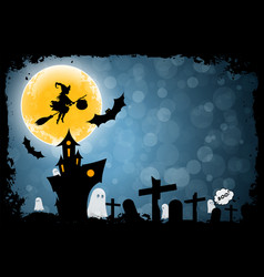 halloween funny background with witch and haunted vector image