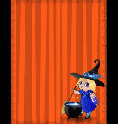 halloween template with cute baby witch girl in vector image