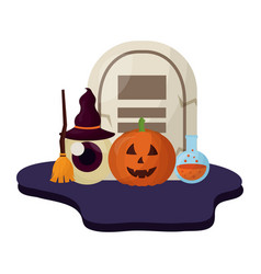 halloween tomb and set icons vector image