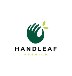 Hand leaf logo icon vector