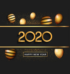 Happy new year 2020 silver number with balloons vector