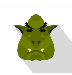 Head of troll icon flat style vector