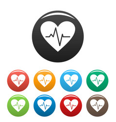 Healthy heart icons set color vector