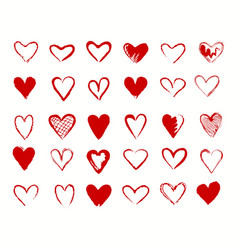 hearts red signs collection vector image