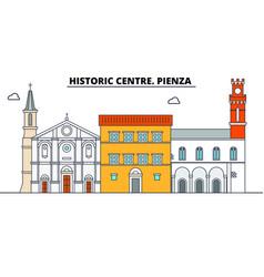 Historic centre pienza line travel landmar vector