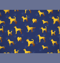 Horizontal card pattern with yellow gold dogs on vector