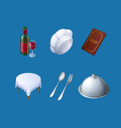 icons restaurant menu chef hat tray and wine vector image