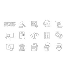 intellectual property icons copyright legal vector image