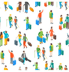 isometric travel people characters seamless vector image