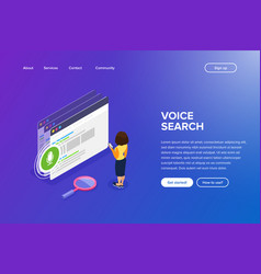 isometric voice search concept using the phone vector image