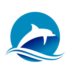 jumping blue dolphin ocean wave circle shape vector image