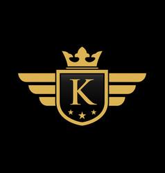letter k shield wing vector image