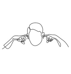 Man plugged his ears with fingers vector