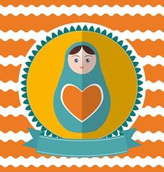 Matryoshka vintage card design Green and orange vector image