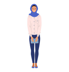 muslim ethnicity woman student on white vector image