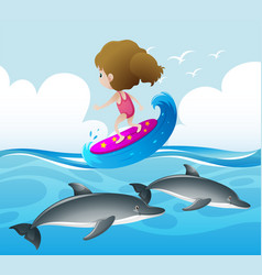 ocean scene with girl and dolphin vector image