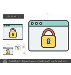 Padlock line icon vector