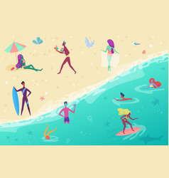 people on the sand sea beach surfing vector image