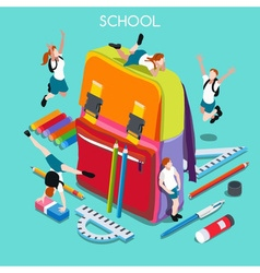 School Set 01 People Isometric vector