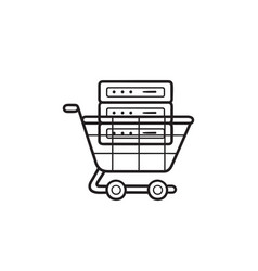 server in the shopping cart hand drawn outline vector image