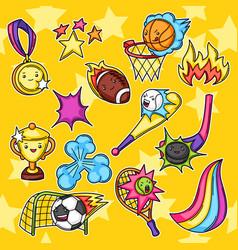set kawaii sport items vector image
