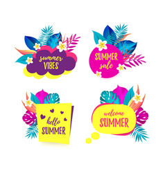 set of hello summer summer vibes sale welcome vector image