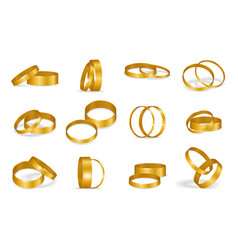 set wedding golden rings isolated on a white vector image