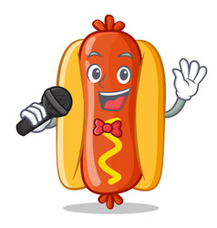 singing hot dog cartoon character vector image