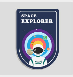 space explorer astronaut solar system background v vector image
