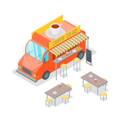 street cafe food truck isometric view vector image