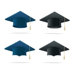 Student Hat Blue and Black Set vector image