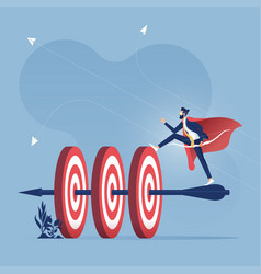 successful businessman hit many target with arrow vector image