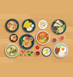 thai food and ingredient on a wooden background vector image