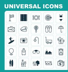 Tourism icons set collection of security baggage vector
