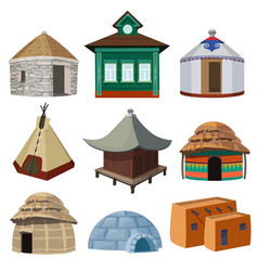 Traditional buildings and small houses of world vector